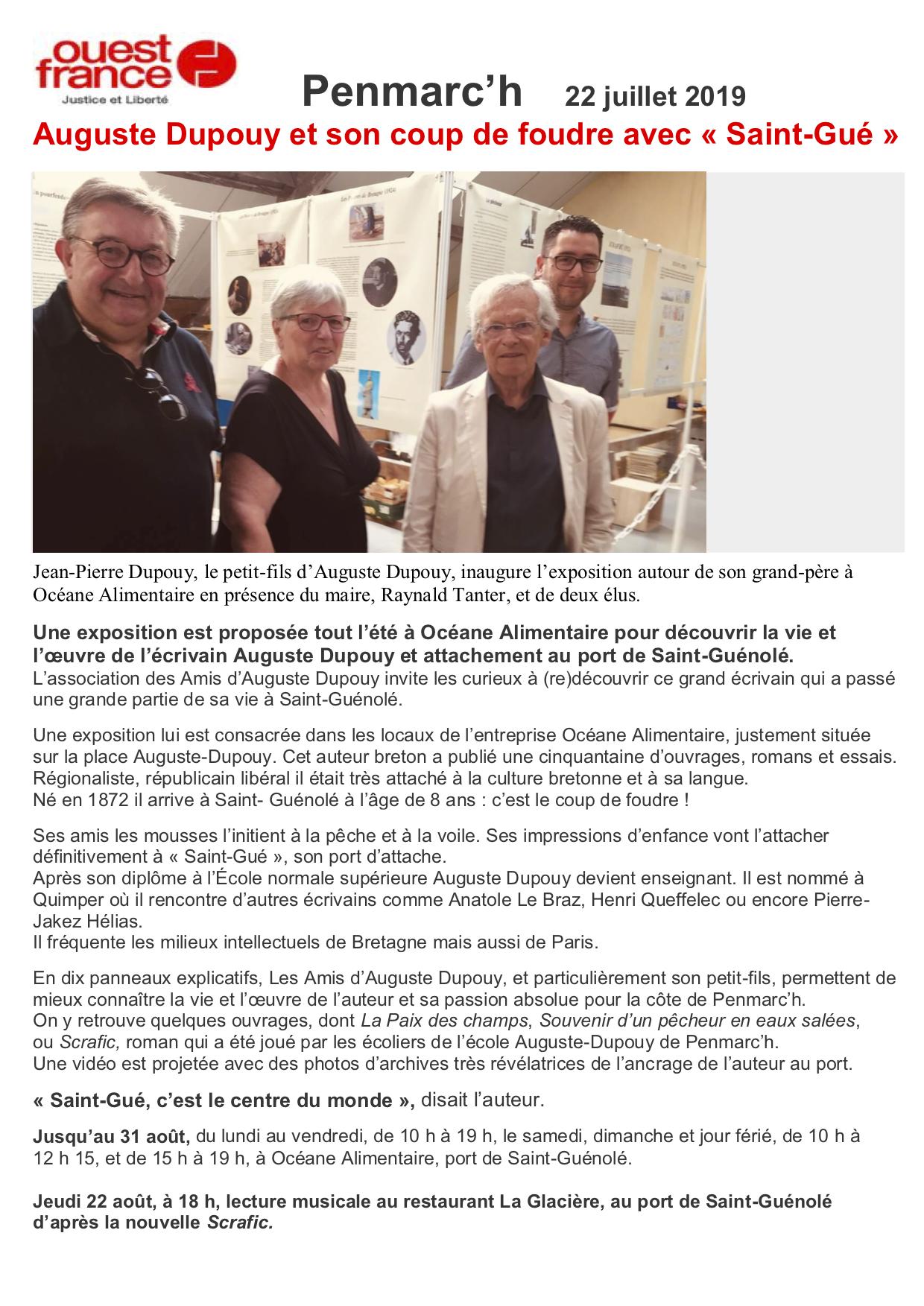 Ouest-France Exposition A Dupouy à l'Océane Alimentaire 23 juil 2019(1)